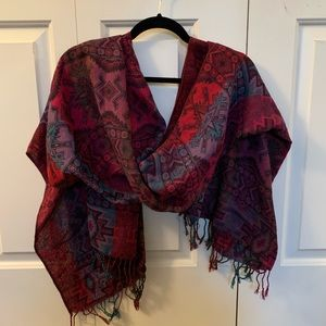 Purple, red, and blue Aztec print scarf